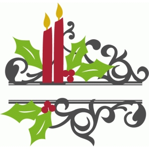 split christmas candle flourish