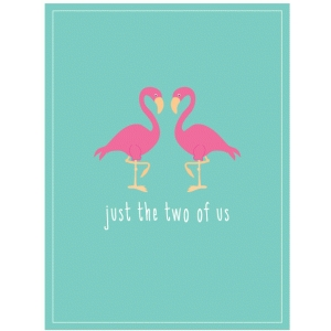 flamingo couple journaling card