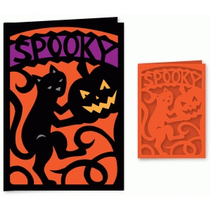halloween black cat spooky card