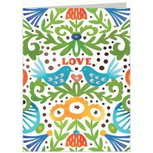 dark watercolor love bird folded card