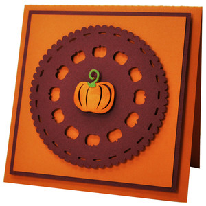 autumn pumpkin doily card