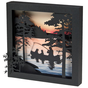3d fishing family shadow box