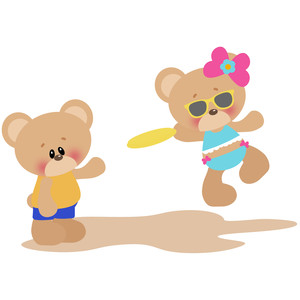 beach bears playing frisbee