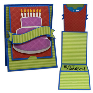 birthday cake z fold gift card holder card