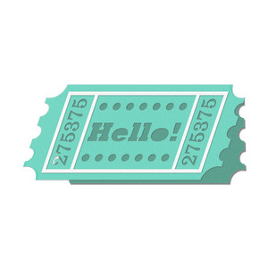 'hello' ticket shaped card