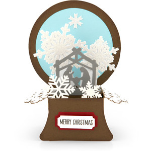 snowglobe box card nativity