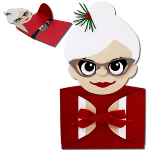 mrs claus hug gift card holder