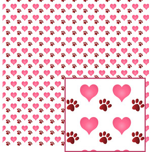 doggy paw and heart pattern