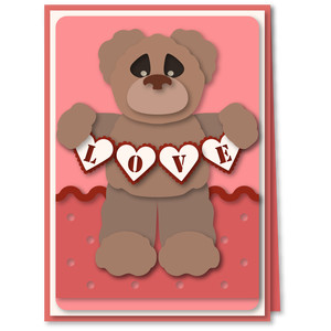 teddy bear love swag 5x7 card
