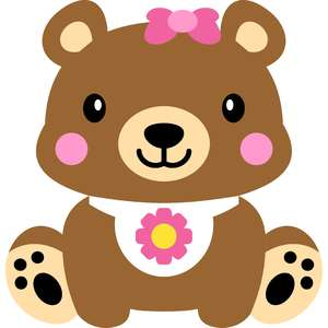 bear and baby bib flower
