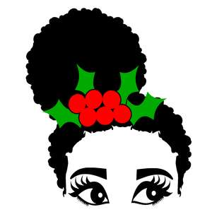 christmas emma afro hair side puff