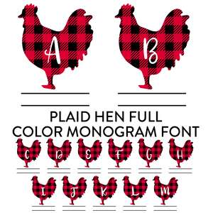 plaid hen full color monogram font