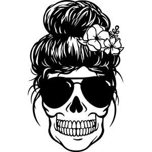 messy bun mom skull with flowers