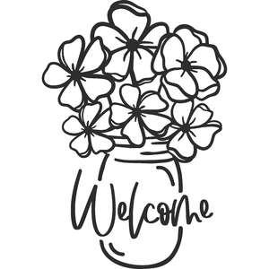 welcome flowers in mason jar