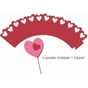 hearts cupcake wrapper + topper