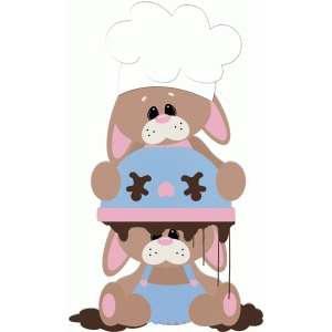 baking bunnies with bowl on head