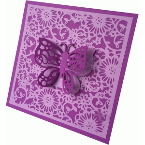 floral flourish butterfly square card