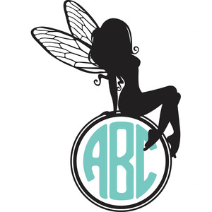 sitting fairy monogram frame