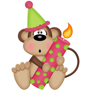 birthday monkey girl holding candle