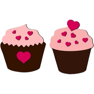 cupcake with hearts