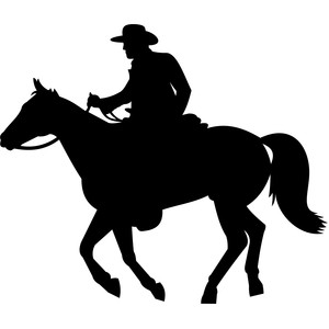 cowboy on horse running