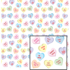 candy hearts paper - large