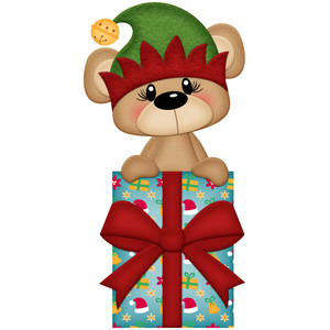 christmas bear with present