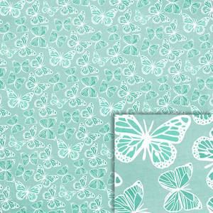 blue butterflies background paper
