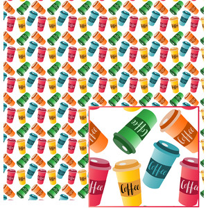 colorful coffee cup pattern