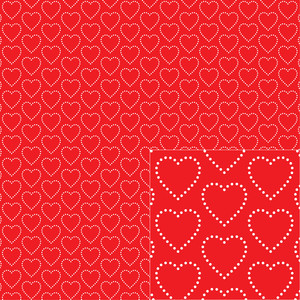 white on red heart dot pattern