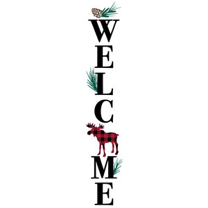 welcome buffalo plaid moose porch sign