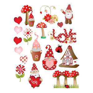 polka dots and gnomes valentine stickers
