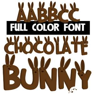 chocolate bunny color font
