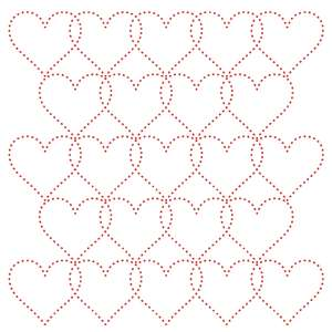 overlapping hearts stitching pattern