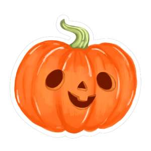kawaii jack-o-lantern one tooth grin