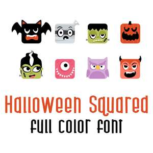 halloween squared full color font
