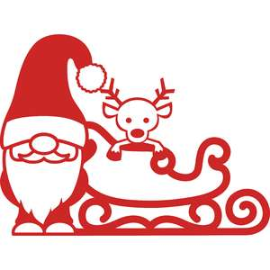 gnome and christmas sleigh