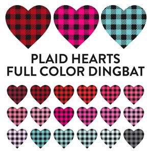 plaid hearts full color dingbat font
