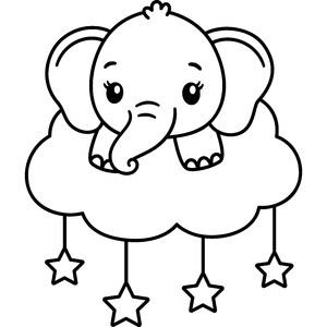 baby elephant on cloud