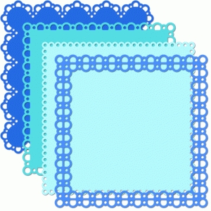 12x12 square doily set open scallop edge