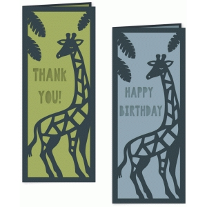 giraffe folded birthday and thank you card set