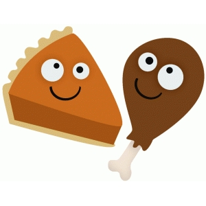 googly-eyed pie and turkey leg