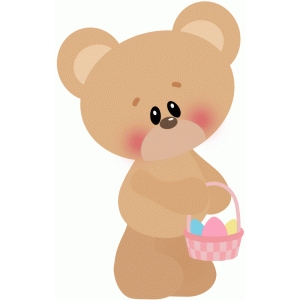 bear holding basket of eggs