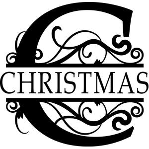 christmas flourished c monogram