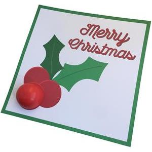 holly and berries lip balm card