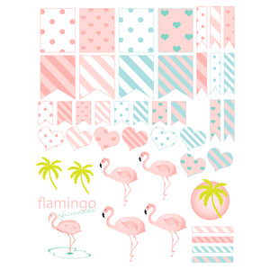 flamingo-themed planning stickers