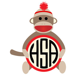 stuffed monkey monogram frame