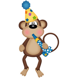 birthday monkey with party blower