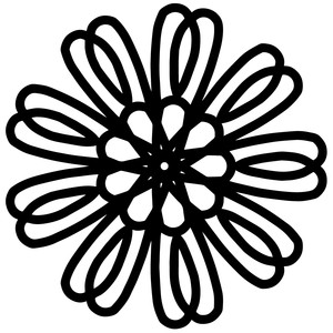 Flowery Border Black And White Clipart