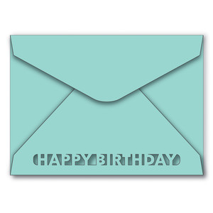 a7 envelope with happy birthday cutout